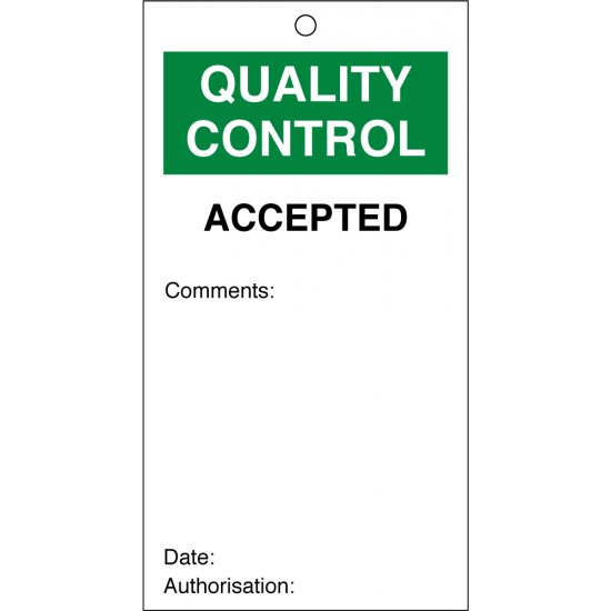Accepted Quality Control Tags 80mm x 150mm Pack of 10