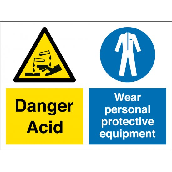 Acid Wear Personal Protective Equipment Signs