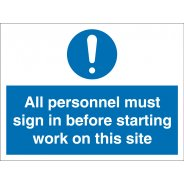All Personnel Must Sign In Signs