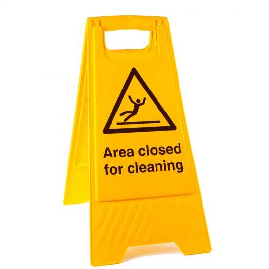 Area Closed For Cleaning Floor Stands