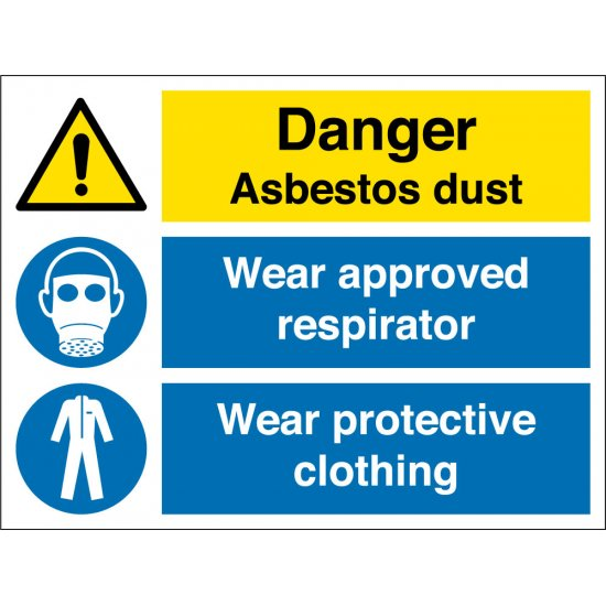 Asbestos Dust Wear Respirator Wear Clothing Signs