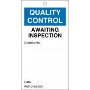 Awaiting Inspection Quality Control Tags 80mm x 150mm Pack of 10