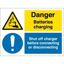 Batteries Charging Shut Off Connector Signs