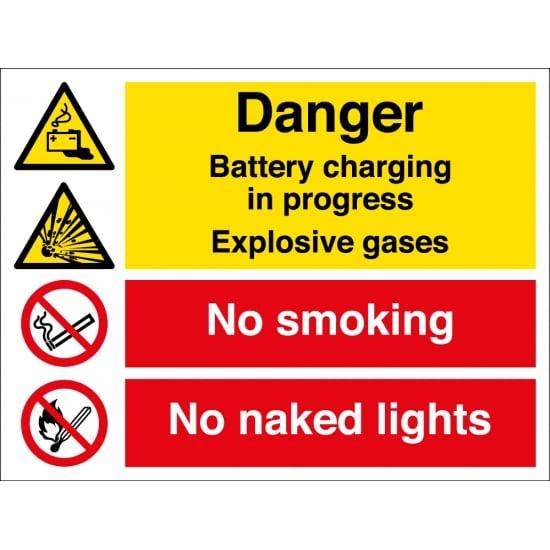 Battery Charging No Smoking Signs