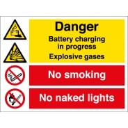 Battery Charging No Smoking Signs