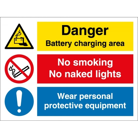 Battery Charging No Smoking Wear PPE Signs