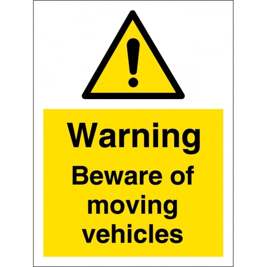 Beware Of Moving Vehicles Signs
