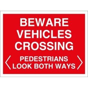 Beware Vehicles Crossing Signs