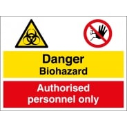 Biohazard Authorised Personnel Only Signs