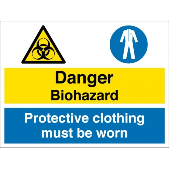 Biohazard Protectve Clothing Must Be Worn Signs