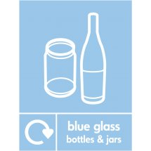 Blue Glass Waste Recycling Signs