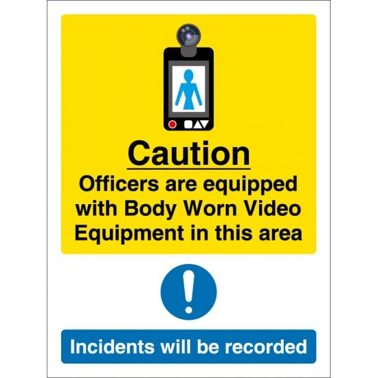 Body Worn Video Equipment In This Area Signs