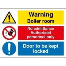 Boiler Room Authorised Personnel Door Kept Locked Signs