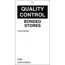 Bonded Stores Quality Control Tags 80mm x 150mm Pack of 10
