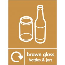 Brown Glass Waste Recycling Signs