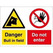 Bull In Field Do Not Enter Signs