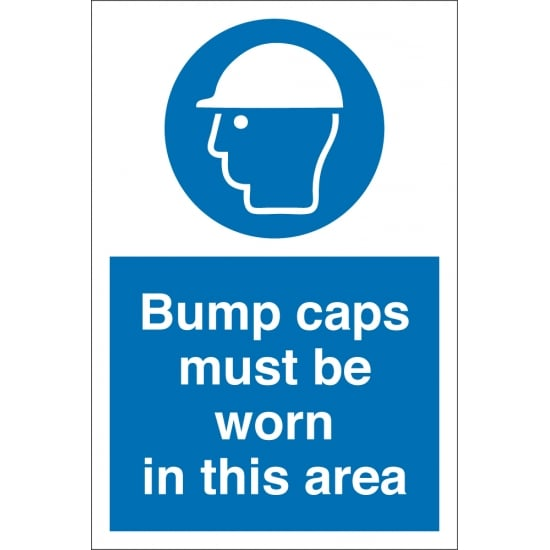 Bump Caps Must Be Worn In This Area Signs