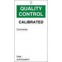 Calibrated Quality Control Tags 80mm x 150mm Pack of 10