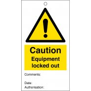 Caution Equipment Locked Out Safety Tags 80mm x 150mm Pack of 10