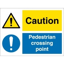 Caution Pedestrian Crossing Point Signs