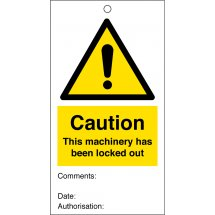 Caution This Machinery Has Been Locked Out Safety Tags 80mm x 150mm Pack of 10