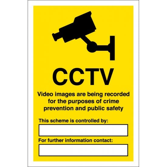CCTV Video Images Recorded Signs