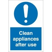 Clean Appliances After Use Signs