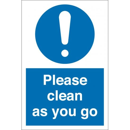 Clean As You Go Signs