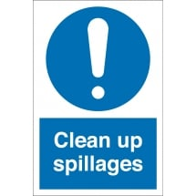 Clean Up Spillages Signs