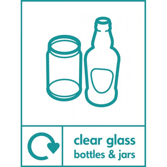Clear Glass Waste Recycling Signs