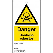 Contains Asbestos Safety Tags 80mm x 150mm Pack of 10