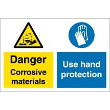Corrosive Materials Use Hand Protection Signs