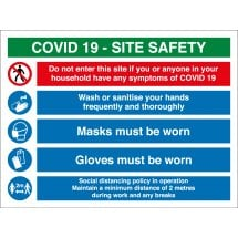 COVID Construction Site Safety Signs Masks And Gloves