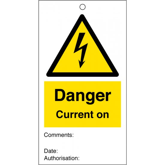 Current On Safety Tags 80mm x 150mm Pack of 10