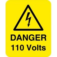 Danger 110 Volts Labels