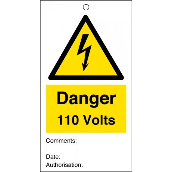 Danger 110 Volts Safety Tags 80mm x 150mm Pack of 10