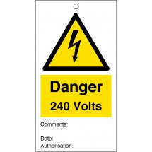 Danger 240 Volts Safety Tags 80mm x 150mm Pack of 10