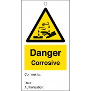 Danger Corrosive Safety Tags 80mm x 150mm Pack of 10