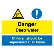 Danger Deep Water Children Should Be Supervised Signs