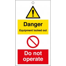 Danger Equipment Locked Out Do Not Operate Safety Tags 80mm x 150mm Pack of 10