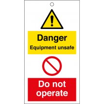 Danger Equipment Unsafe Do Not Operate Safety Tags 80mm x 150mm Pack of 10