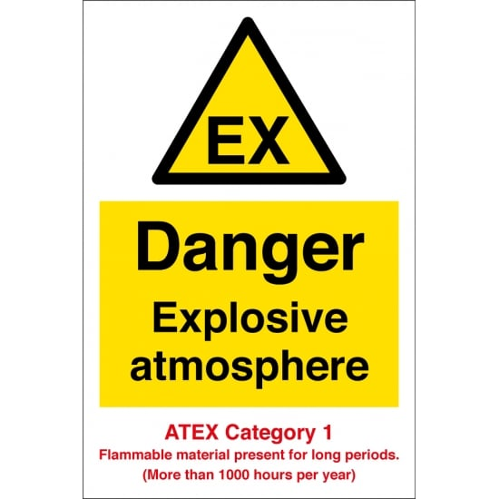Danger Explosive Atmosphere Atex Category 1 Signs
