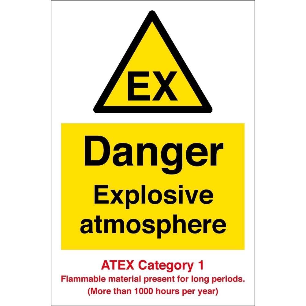Danger Explosive Atmosphere Atex Category 1 Signs - from Key Signs UK