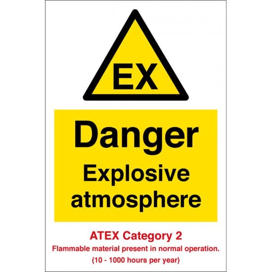 Danger Explosive Atmosphere Atex Category 2 Signs