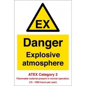 Danger Explosive Atmosphere Atex Category 2 Signs
