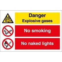 Danger Explosive Gases No Smoking No Naked Lights Signs