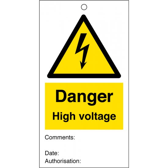 Danger High Voltage Safety Tags 80mm x 150mm Pack of 10