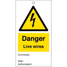 Danger Live Wires Safety Tags 80mm x 150mm Pack of 10