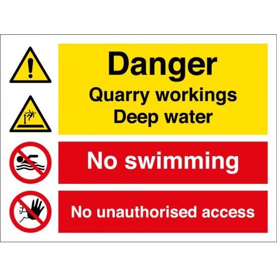 Danger Quarry Workings Deep Water Signs