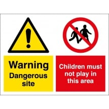 Dangerous Site Children Must Not Play In This Area Signs